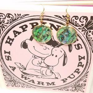 Jewelry - Faux Abalone Shell Gold Tone Fashion Earrings